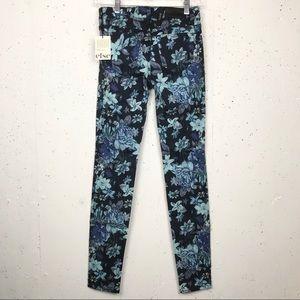 Else Skinny Fit Floral Jeans Deep Blue Size 24